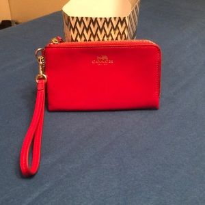 Coach double zipper wristlet, red